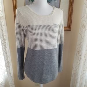 Charter Club Gray and White Knit Sweater